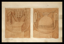Two drawings of sculpture on the stupa rail at Bodhgaya (Bihar), made by Kittoe during his investigation of the site. January 1847. 1